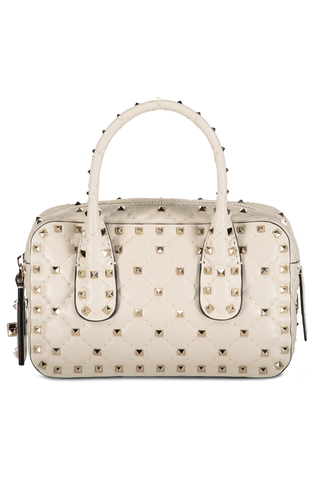 Rockstud Spike Small Duffel Bag Light Ivory