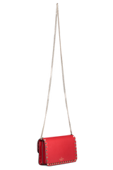 Back angle hanging image of Valentino Women's Rockstud Wallet On Chain