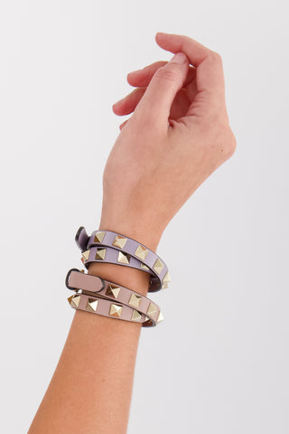 Rockstud Leather Double Bracelet Lilas