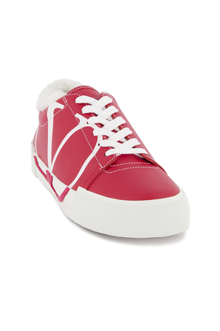 Angled view image of Valentino Women's Tricks Low Top Shearling Sneaker