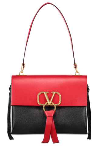 Front image of Valentino Vee Ring Medium Shoulder Bag Rouge/Nero