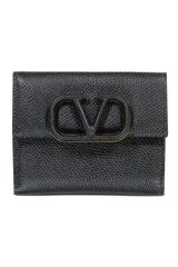 Front view image of Valentino Vsling Flap French Wallet Nero