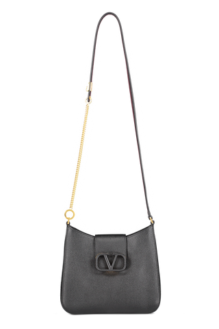 Front view with strap image of Valentino Vsling Small Hobo Bag Nero/Rubin