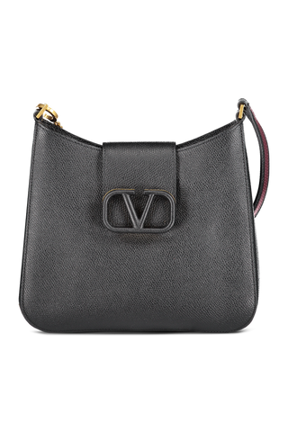Front view image of Valentino Vsling Small Hobo Bag Nero/Rubin