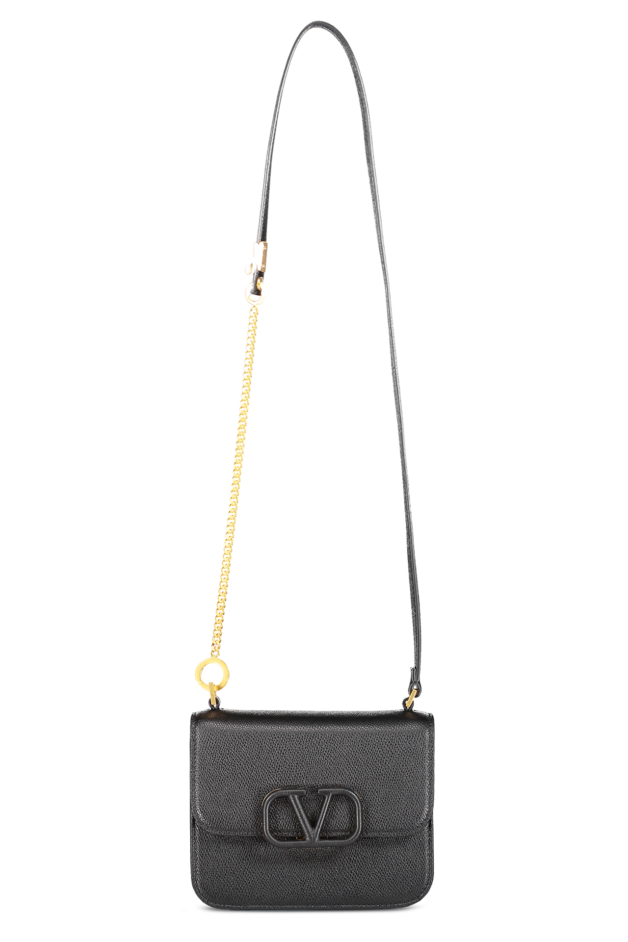Side view with strap detail image of Valentino Vsling Small Shoulder Bag Nero