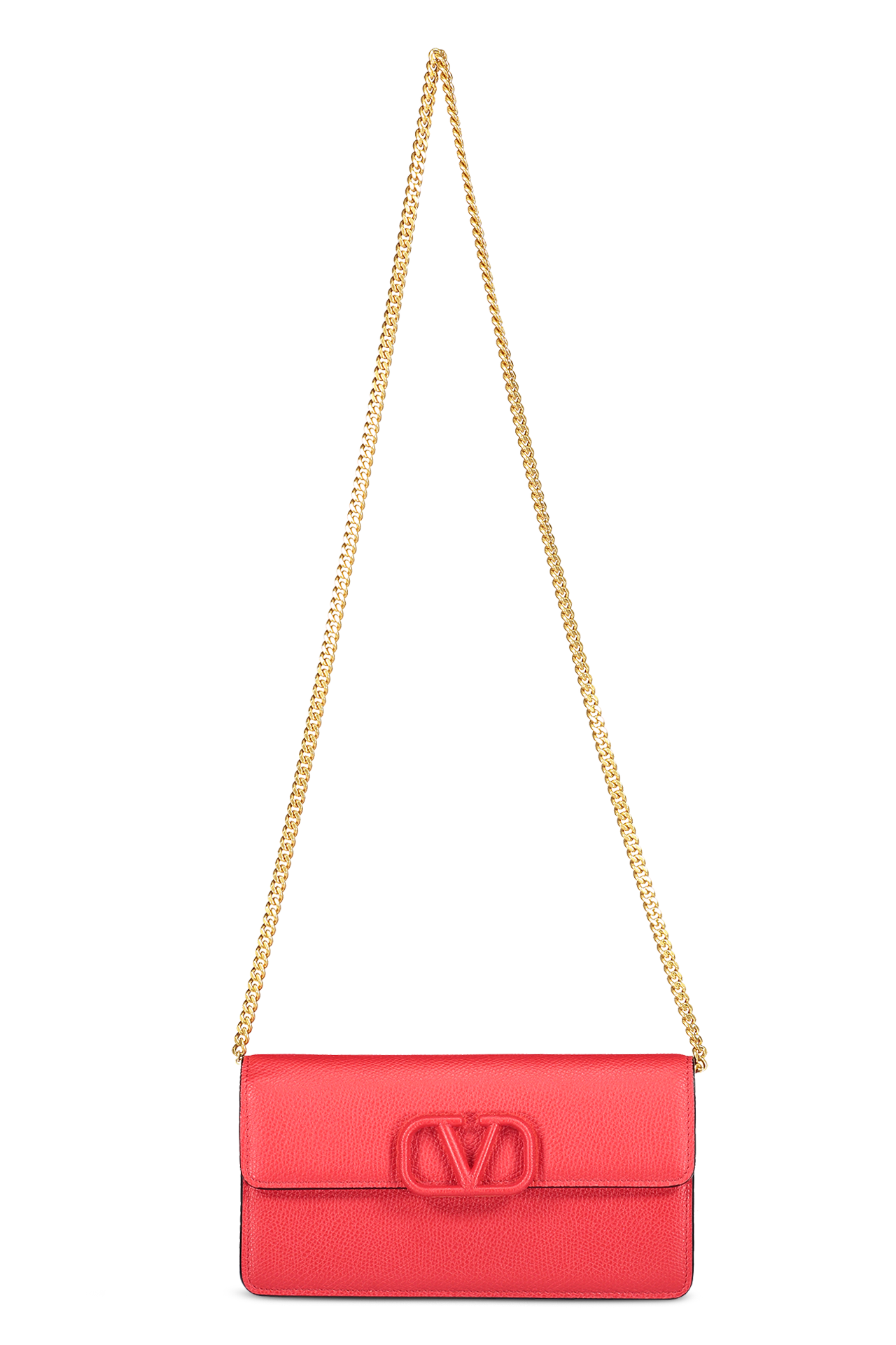 Front view with strap image of Valentino Vsling Wallet On Chain Rouge