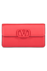 Front view image of Valentino Vsling Wallet On Chain Rouge
