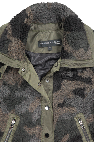 Front collar detail image of Veronica Beard Anita Jacket Camo