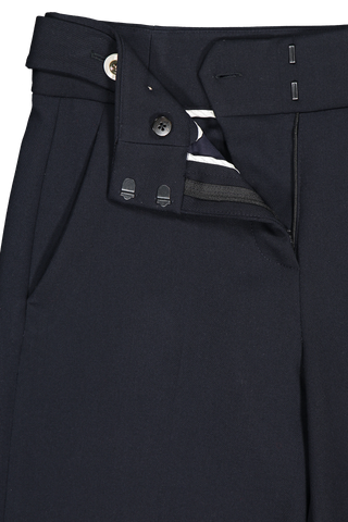 Waistline and zipper detail image of Veronica Beard Aubrie Pant Navy