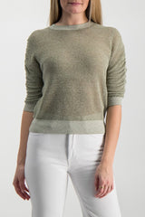 Front Crop Image Of Model Wearing Celia Crew Neck Pullover Green