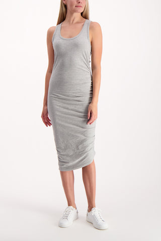 Full Body Image Of Model Wearing Decker Ruched Midi Dress