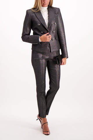 Full Body Image of Model Wearing Veronica Beard Diego Dickey Silver Jacket