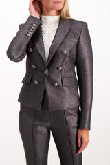 Front Crop Image of Model Wearing Veronica Beard Diego Dickey Silver Jacket