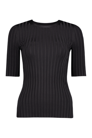 Front view image of Veronica Beard Dillon Crewneck Pullover Black