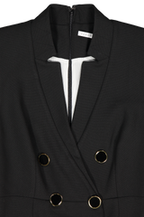 Front collar and lapel detail image of Veronica Beard Doreen Dress Black