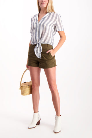Full Body Image Of Model Wearing East Tie Waist Short