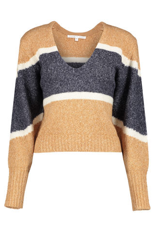 Front view image of Veronica Beard Emilia V-Neck Pullover