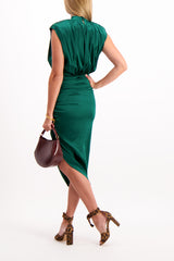 Back Crop Image Of Model Wearing Veronica Beard Kendall Dress Green