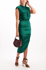 Full Body Image Of Model Wearing Veronica Beard Kendall Dress Green