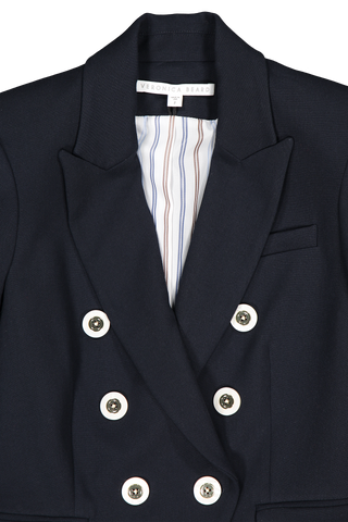 Front collar and lapel detail image of Veronica Beard Miller Dickey Jacket Navy