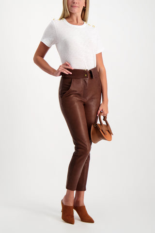 Full Body Image Of Model Wearing Veronica Beard Women's Minerva Leather Pant