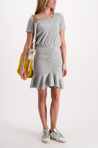Pima Ruched Flounce Dress