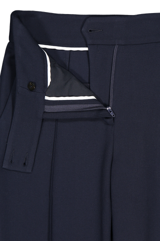 Front waistline and zipper detail image of Veronica Beard Renzo Pant Navy
