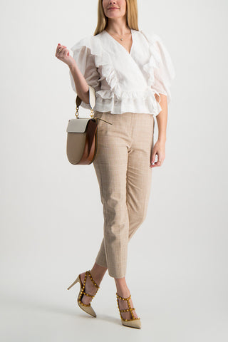 Full Body Image Of Model Wearing Veronica Beard Renzo Pant Tan
