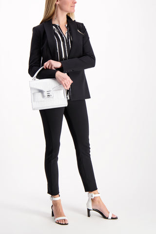 Full Body Image Model Wearing Scuba Jacket Black