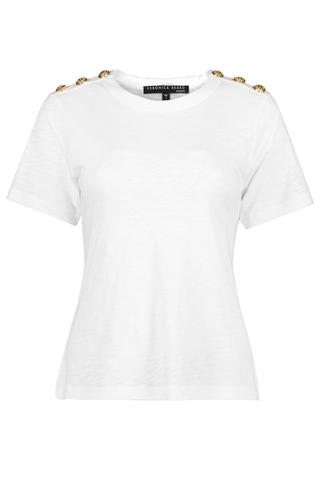 Front image of Veronica Bears Women's Short Sleeve Carla Tee White