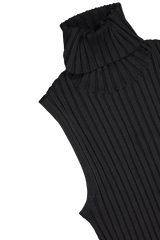 Back collar and shoulder detail view image of Veronica Beard Stefania Sleeveless Turtleneck Black
