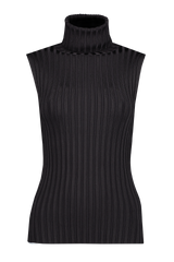 Front view image of Veronica Beard Stefania Sleeveless Turtleneck Black