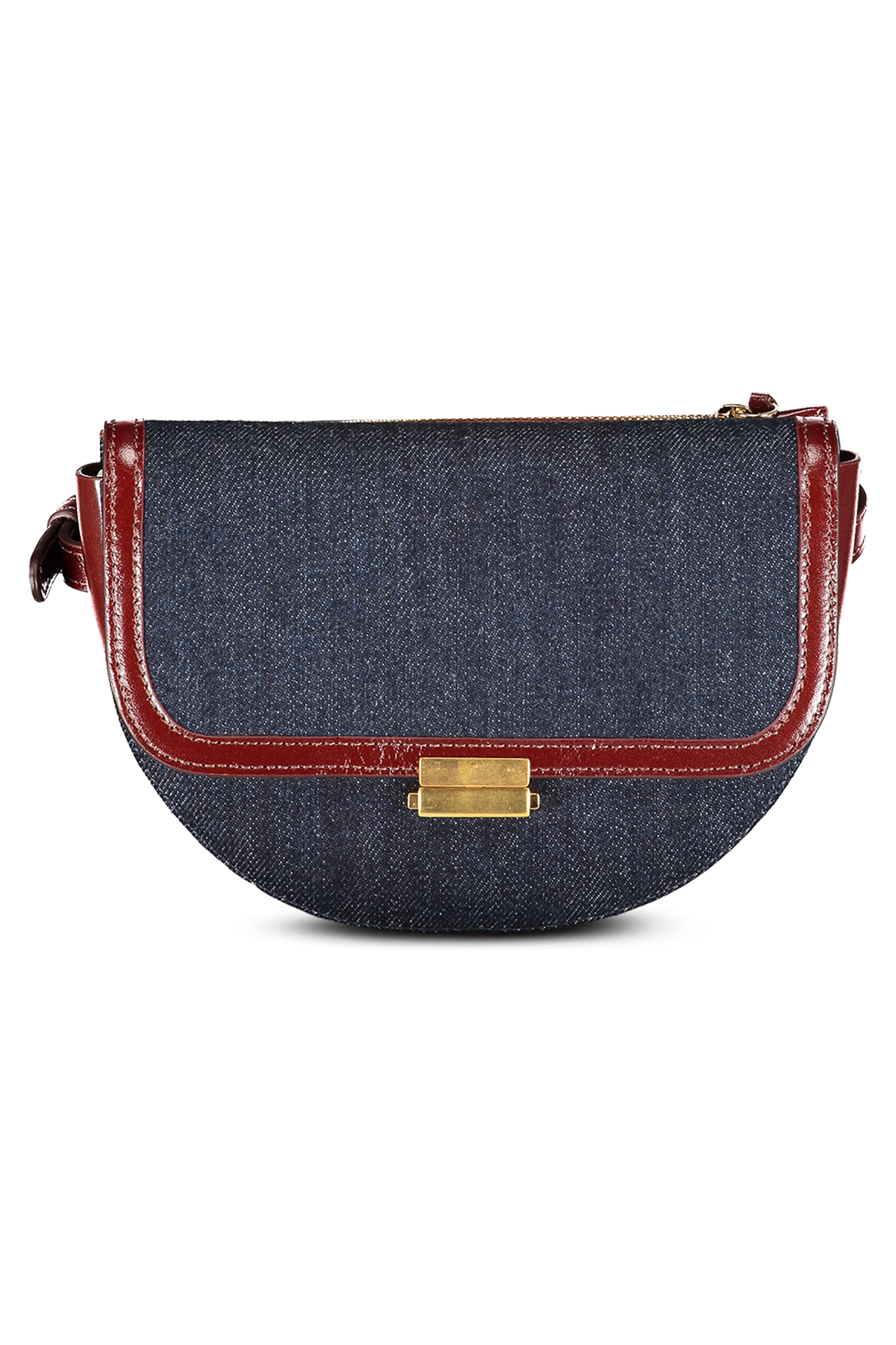 Front image of Wandler Anna Belt Bag Big Denim Leather Mix Denim/Syrup