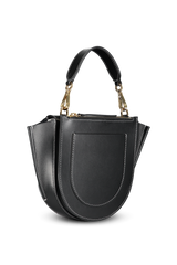 Back angled view image of Wandler Hortensia Bag Mini Calf Leather Black/White