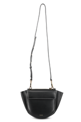 Front view image of Wandler Hortensia Bag Mini Calf Leather Black/White with strap