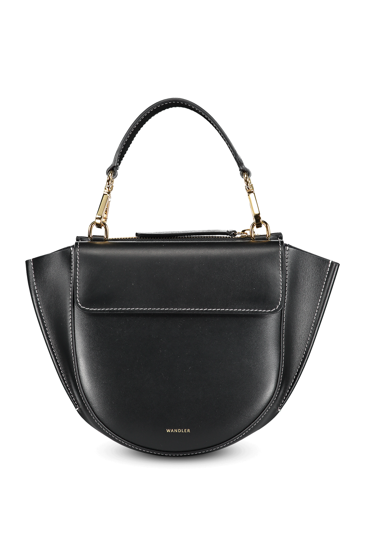 Front view image of Wandler Hortensia Bag Mini Calf Leather Black/White