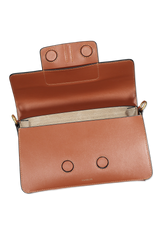 Front view image of Wandler Georgia Bag Calf Leather Tan with open flap