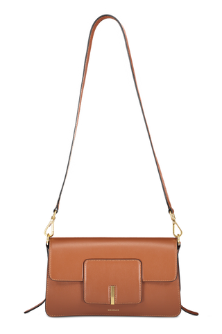 Front view image of Wandler Georgia Bag Calf Leather Tan with strap
