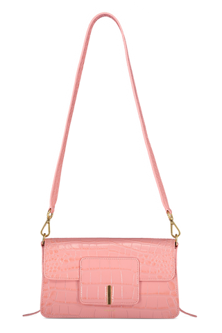 Front full image of Wandler Georgia Bag Croco Calf Leather Blossom