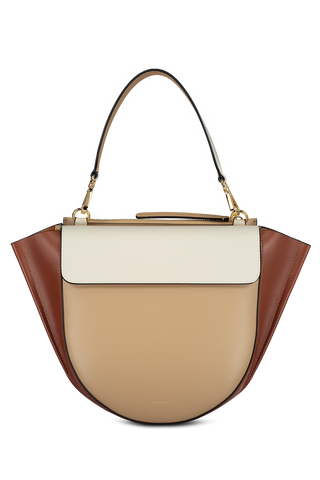 Front detail image of Wandler Hortensia Bag Medium Calf Leather Biscuit Shades