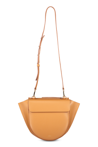 Front view image of Wandler Hortensia Bag Medium Calf Leather Caramel with strap