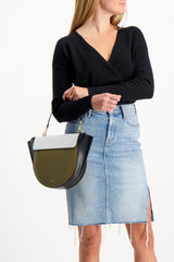 Crop Image Of Model Holding Wandler Hortensia Bag Medium Calf Leather Kombo Shades