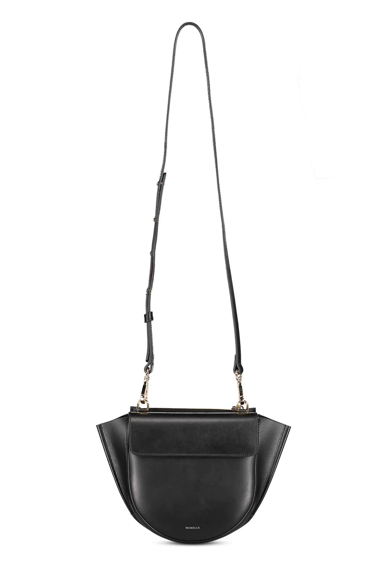 Front hanging image of Wandler Hortensia Mini Calf Leather Black