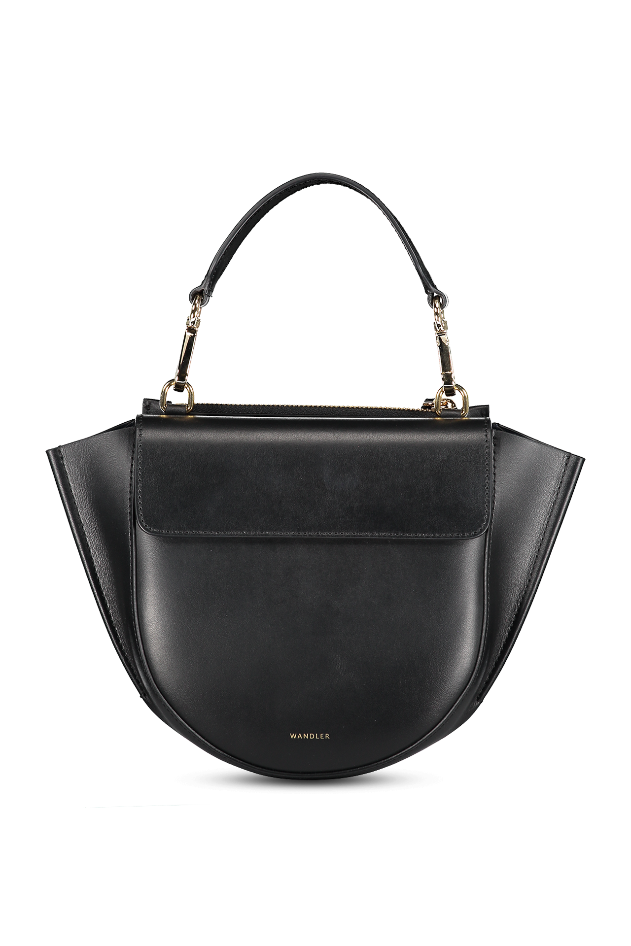 Front image of Wandler Hortensia Mini Calf Leather Black