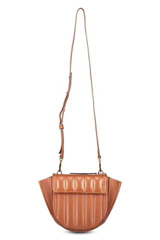 Front view image of Wandler Hortensia Bag Mini Calf Leather Tan Quilted  with strap
