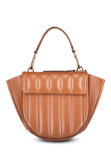 Front view image of Wandler Hortensia Bag Mini Calf Leather Tan Quilted