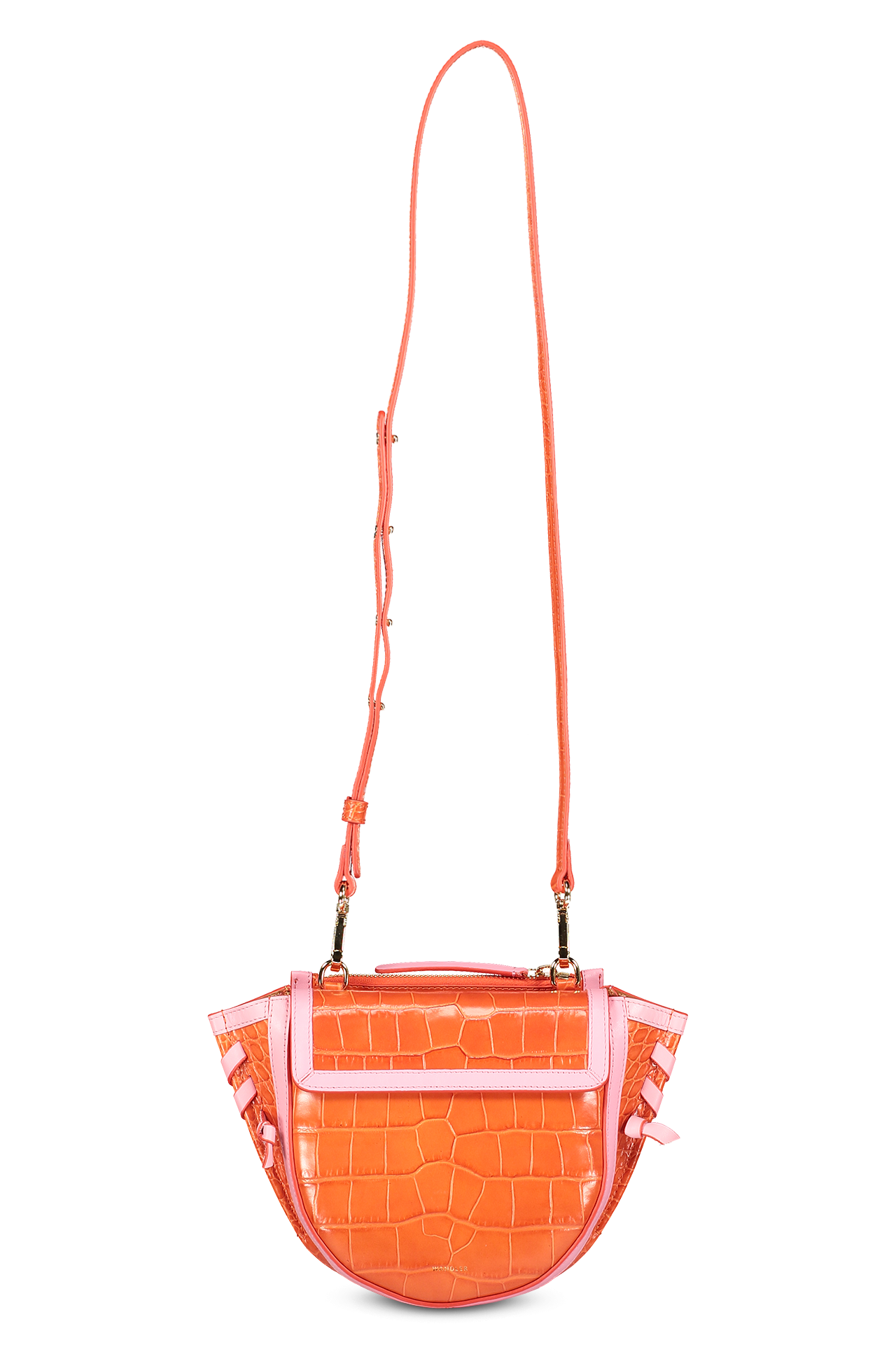 Front view image of Wandler Hortensia Bag Mini Croco Calf Leather with strap