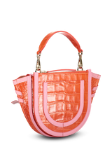 Back angled view image of Wandler Hortensia Bag Mini Croco Calf Leather