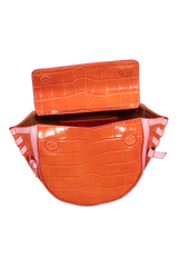 Front view image of Wandler Hortensia Bag Mini Croco Calf Leather with open flap