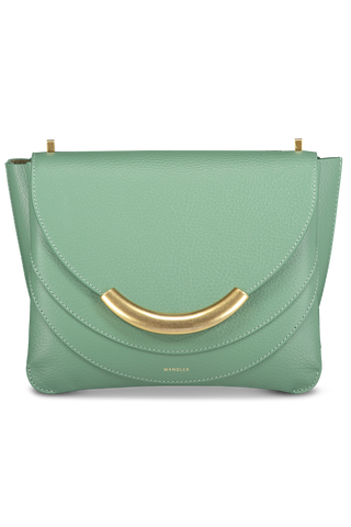Front detail view image of Wandler Luna Arch Bag Calf Leather Sage Crust